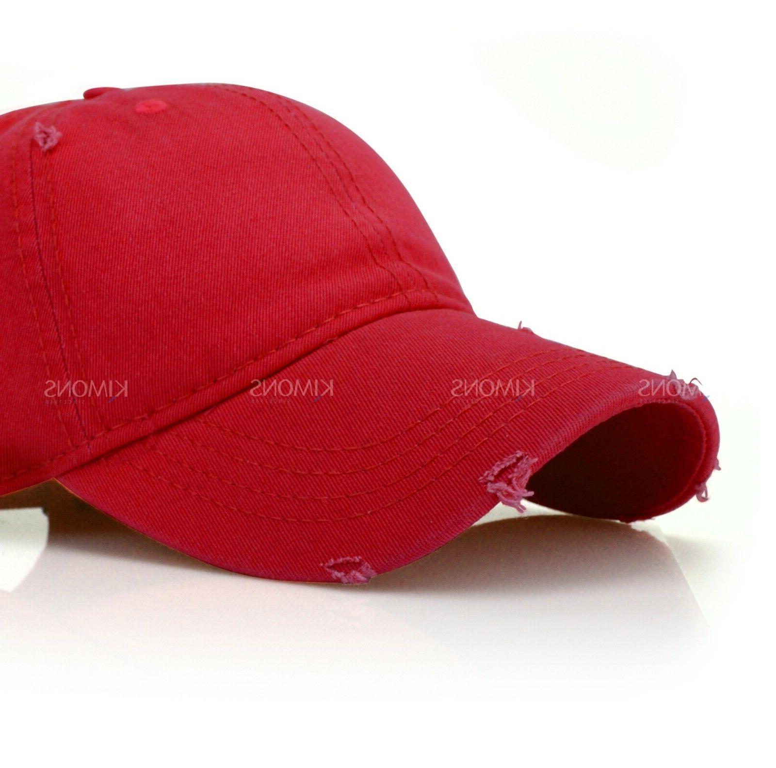 Distressed Cotton Baseball Cap Solid Blank Women