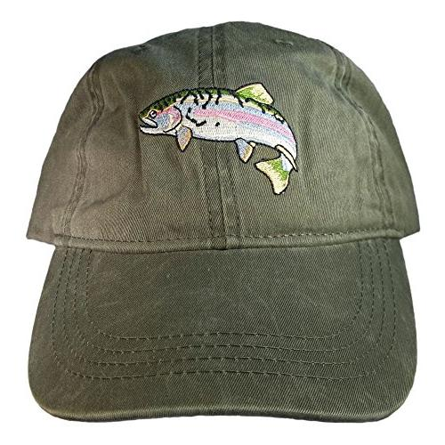 embroidered wildlife rainbow trout baseball cap