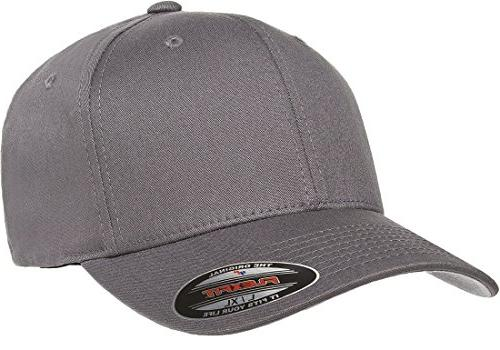 Flexfit/Yupoong Men's Cotton Twill Fitted Cap, Gray, Small/Medium