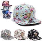 Men Women Floral Flower Snapback Hip-Hop Hat Flat Galaxy Adj