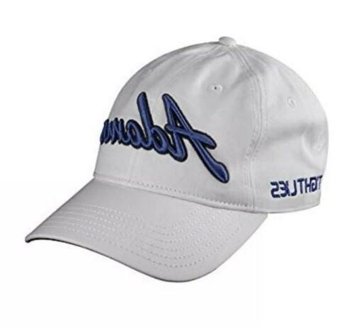 golf adjustable cap white blue strap back