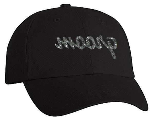groom script vinyl print baseball style cap