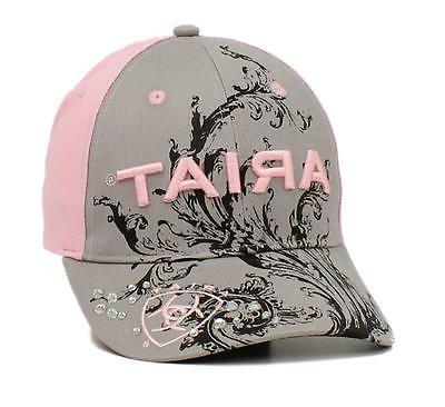Ariat Womens Hat Baseball Cap Scroll Logo One Size Gray Pink