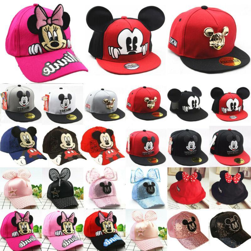 Mickey Minnie Mouse Baseball Cap Kids Boy Girl Snapback Spor