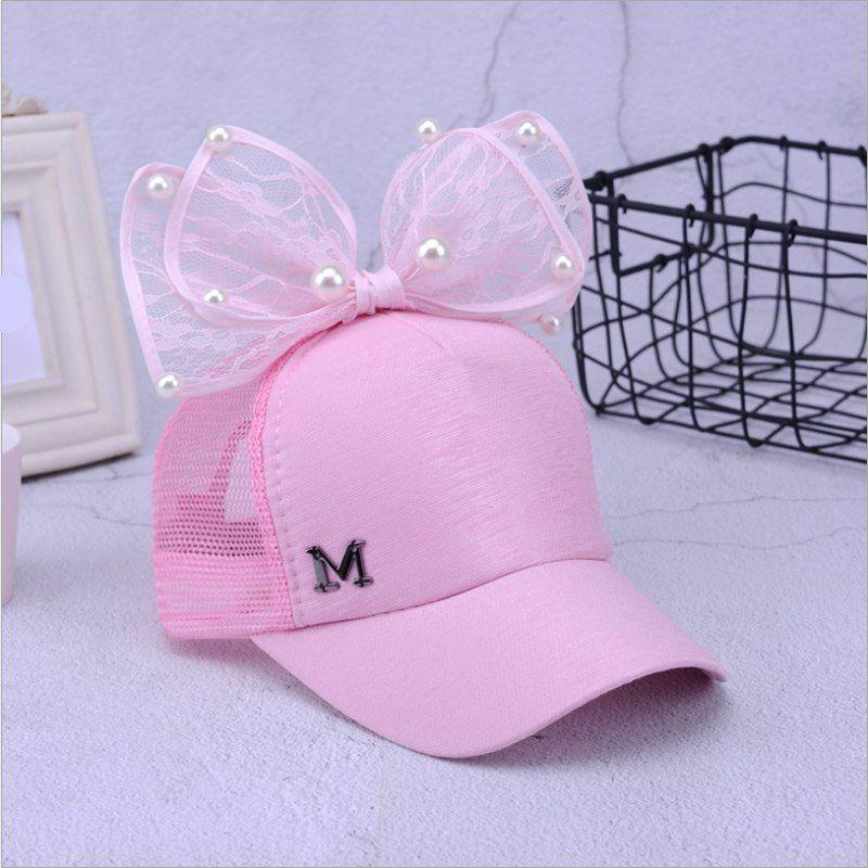 Kids Girls Cap Lovely Net Cartoon Big Hats