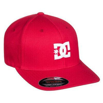DC Shoes Men's Cap Star 2 FlexFit Hat Red Baseball Cap Headw