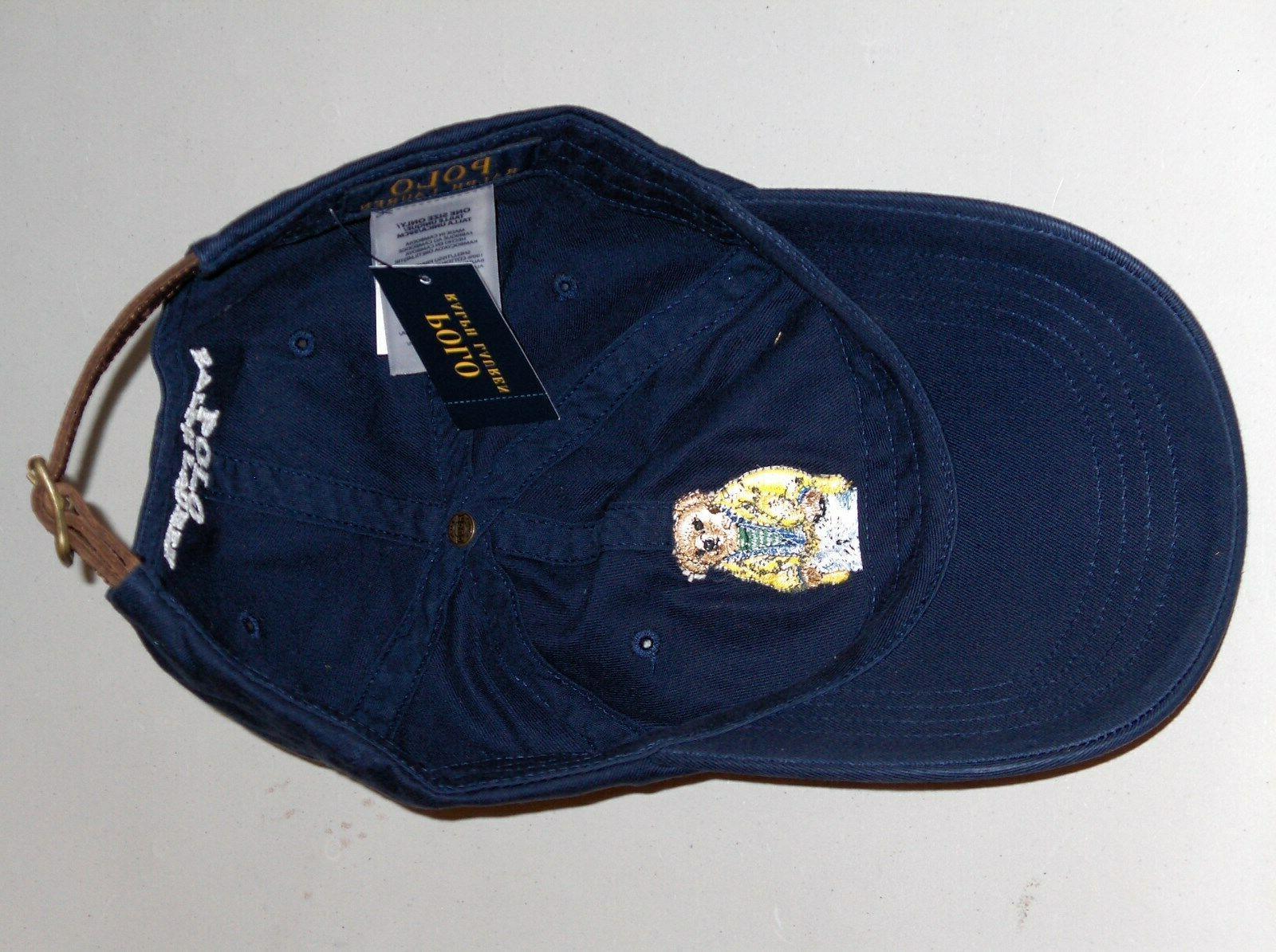 POLO Raincoat Bear Cap Hat, LEATHER Blue