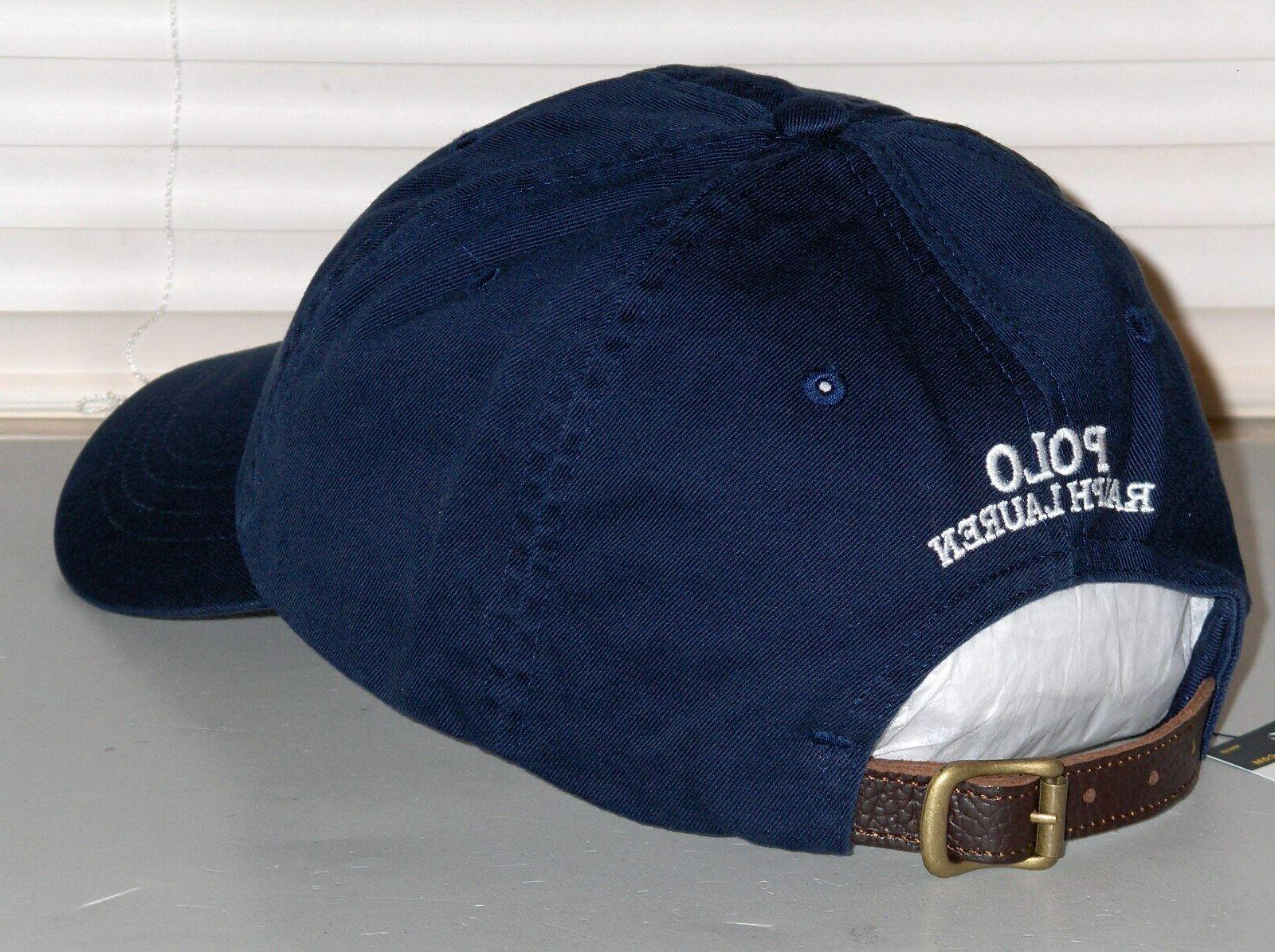 POLO Raincoat Baseball Cap Hat, LEATHER Navy Blue