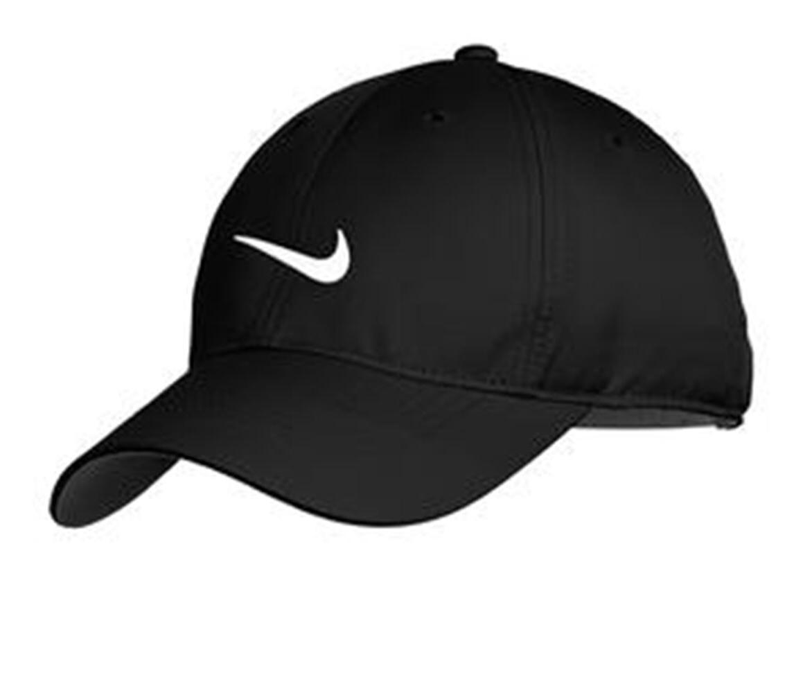 NEW HAT-BLACK WHITE SWOOSH-DRI-FIT-BASEBALL CAP-ADJUSTABLE HATS