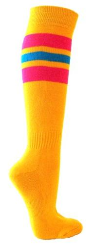 Couver Hot Pink / Bright Blue Strip on Golden Yellow Knee Hi
