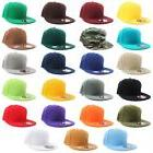 Plain Solid Flat Bill Visor Fitted Baseball Caps Snapback Si