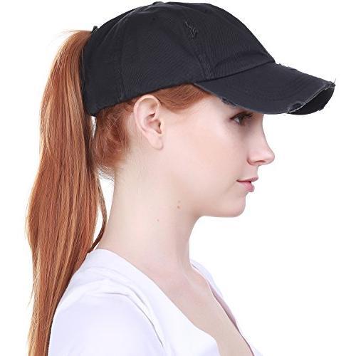 PONY-001 BLK High Bun Headwear Adjustable Cotton Hat Baseball Cap