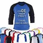 30PCS Raglan Baseball Blank T-shirts Tops Custom Team Unifor