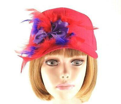Red Hat Purple Chandelle Feathers Society