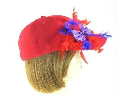 Red Baseball Purple Bow Feathers Society Lady