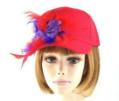 Red Baseball Purple Bow Crystals Feathers Society Lady