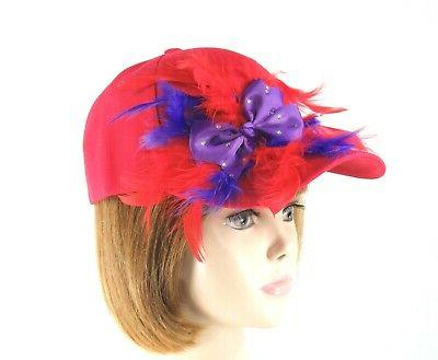 red baseball cap hat purple bow crystals