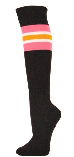 Couver Pink / White / Gold Yellow Strip on Brown Knee High A