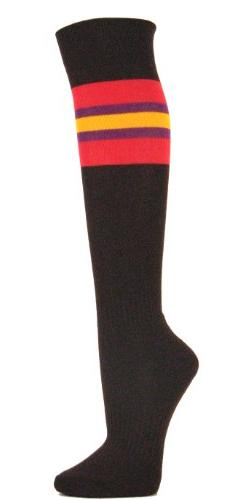 Couver Red / Purple / Gold Yellow Strip on Brown Knee High B