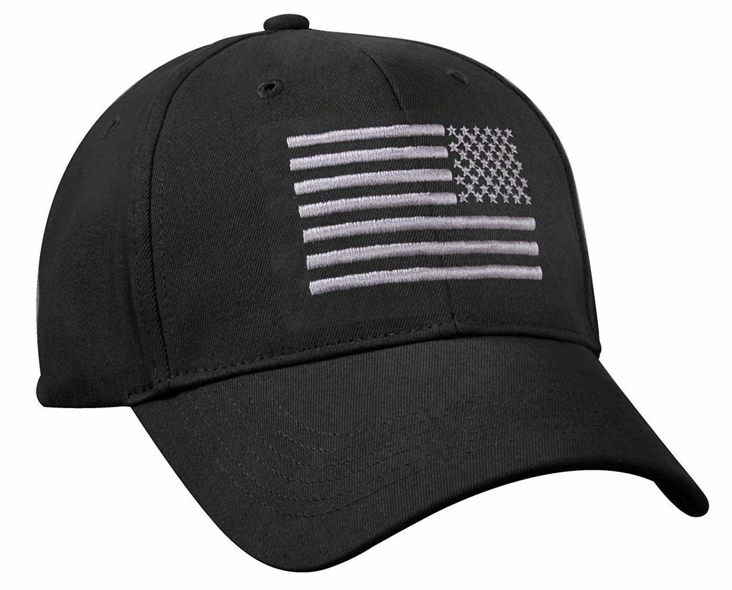 Black Subdued American Flag Embroidered Low Profile Baseball