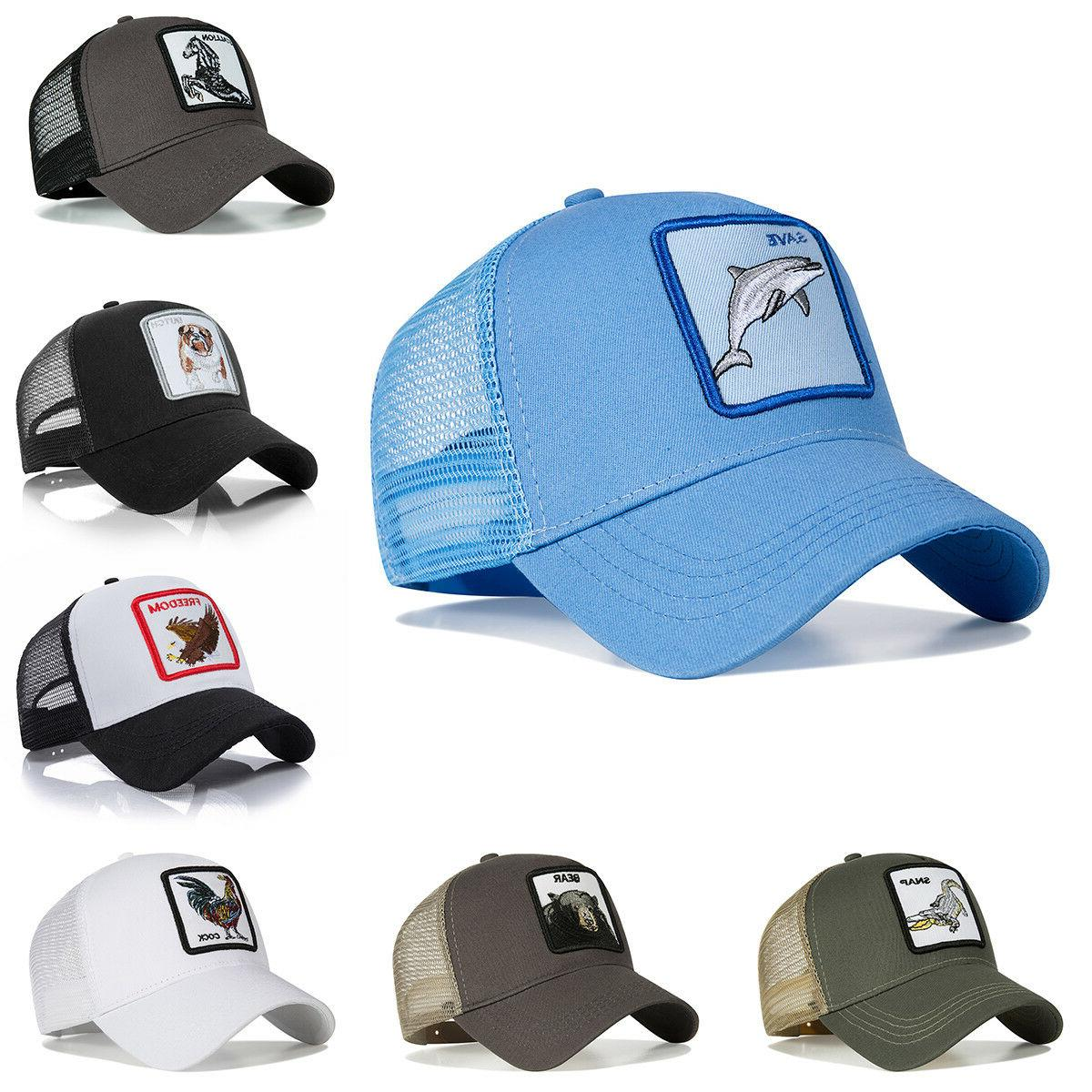 personality baseball caps animal embroidery pattern hip
