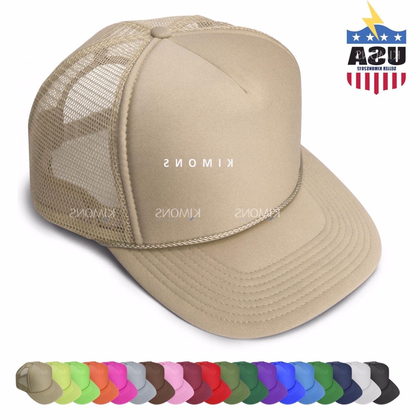 Trucker Hat Mesh Baseball Cap Snapback Solid Plain Dad