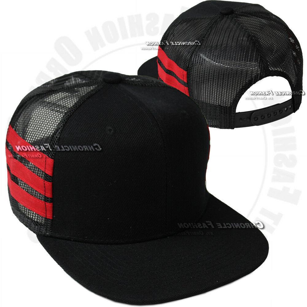 Trucker Snapback Cap Plain Flat Hip Hop Mens