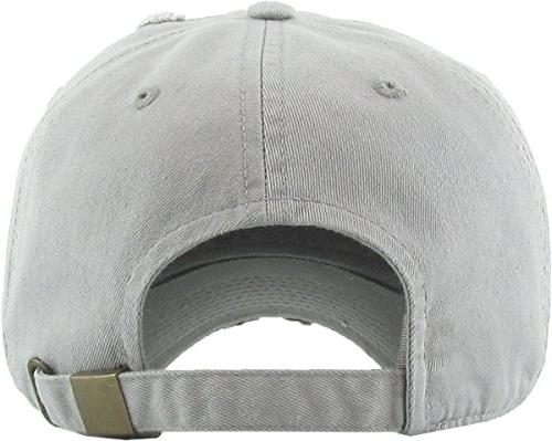KBETHOS Washed Cotton Dad Cap Unisex Style Light Gray Adjustable