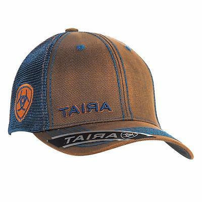 Ariat Western Mens Hat Baseball Cap Mesh Snap Oilskin Logo B