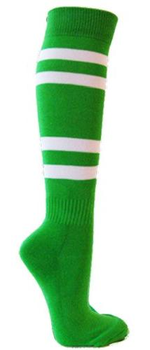 Couver White Striped Knee High Softball/Sports Socks, Bright