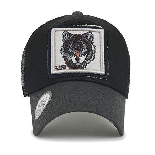 ililily Bear Wild Animal Square Patch Casual Cap Trucker Hat