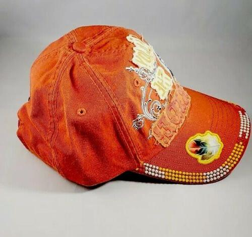 Women's Distressed Embellished Cap, Size, Orange,