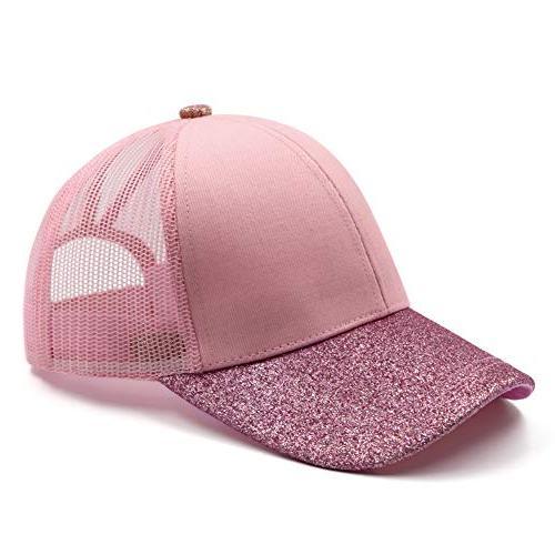 Lvaiz Hat PlainBaseball Messy HighBuns Mesh Trucker Ponycaps for Girls