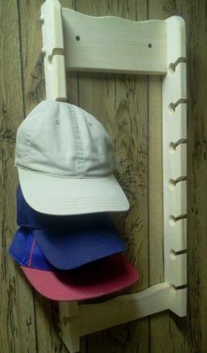 Wooden 14 baseball cap rack unfinished pine wood boys and gi