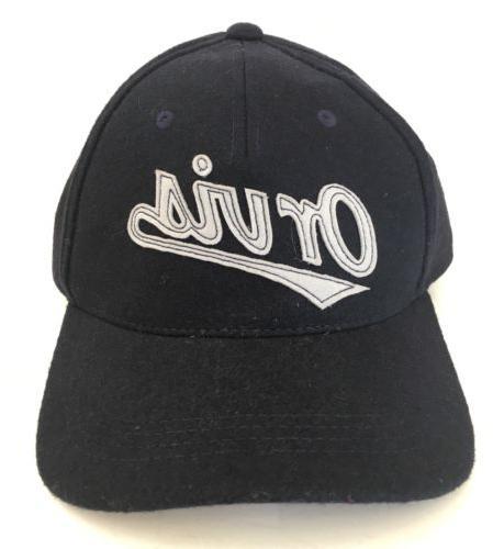 wool spell out baseball cap hat navy