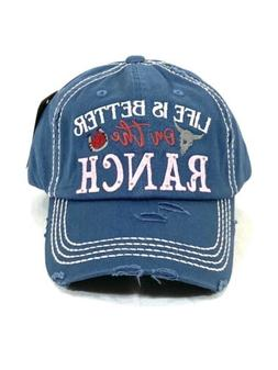 LIFE IS BETTER on the RANCH Embroidery Vintage Distressed Ba