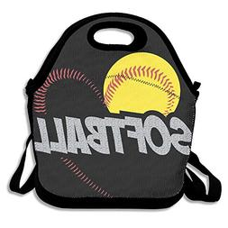 Love Softball Lunch Tote Insulated Reusable Picnic Lunch Bag