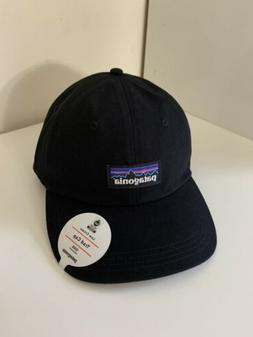 patagonia low crown p-6 label trad cap hat black adjustable