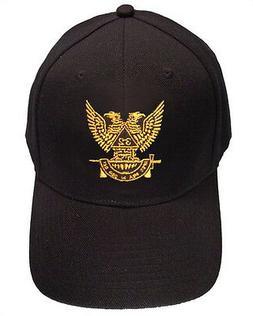Masonic Baseball Cap Scottish Rite Wings Up - Black Hat with