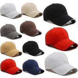 Men Plain Baseball Caps Adjustable Pure Color Snapback Outdo
