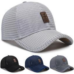Men's Baseball Cap Trucker Hat Snapback Visor Mesh Plain Bla