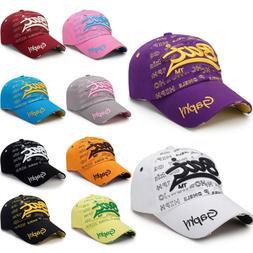 Men Women Letter Embroidery Adjustable Baseball Hats Casual