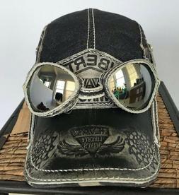 Mens Biker Baseball Cap Hat Vintage Leather Cotton Adjustabl