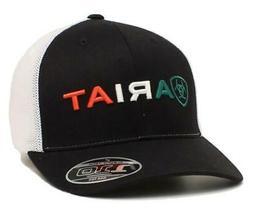 Ariat Mens Hat Baseball Cap Mesh Snap Mexican Flag Black A30