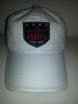Mens No Name Brand White All American Dad Ball Cap Hat Embro
