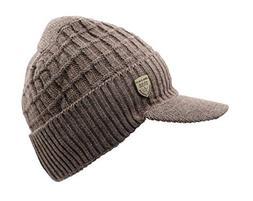 LLmoway Men's Winter Visor Beanie Warm Fleece Hat with Bri