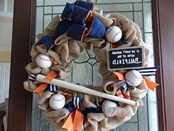 Mets Baseball Wreath-If We Don't Answer We're at the Ballfie