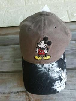 Disney Mickey Mouse Baseball Cap Black Gray & Black Tie - Dy
