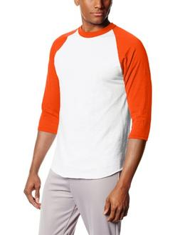 MJ Soffe Men's 3/4 Sleeve Baseball Jersey, X-Large, Orange