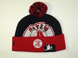 New Era MLB Boston Red Sox Big Logo Cuffed Retro Knit Pom Be